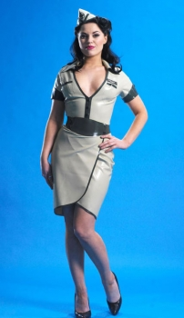 army latex dress grey